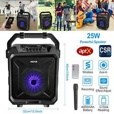Portable 25W PA Party Speaker System Wireless Big LED Stereo Tailgate Loud +Mic