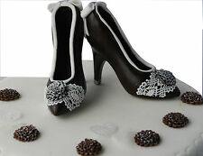 Dark Chocolate Shoes Birthday Set Handmade Cake Topper Decoration