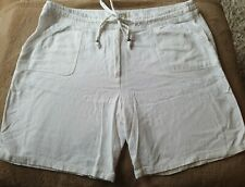 White linen Shorts Size 16 summer holiday tie waist pockets loose fit cool airy