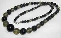 Wonderful strand of black and smoky plastic graduated bead necklace 72 cms long