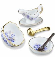 DOLLHOUSE Blue Onion Serving Set w Bowls, Gravy Boat 1.449/5 Reutter Miniature