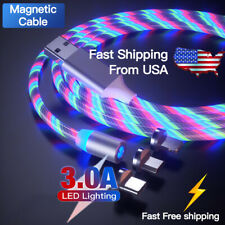 3 in 1 LED flowing Light Up Magnetic Fast Charger Cable For Type-C Micro-USB