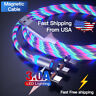 3A LED flowing Light Up Magnetic Fast Charger Cable For Type-C Micro-USB iPhone