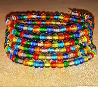 New Memory Wire Wrap Bracelet  With Multi Colored  Glass Beads   Free Shipping