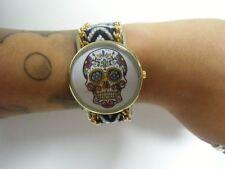 Reloj de pulsera fantasía original brasileña negro calavera mexicana cráneo