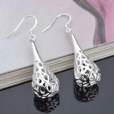 Ladies Hoop Drop Earrings Silver Alloy Hoop Earrings Water Drop Hollowed N7