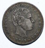[Lot 1311] Coin, Portugues, 100 Reis, Pedro V, 1861, gVF, Silver, KM#497