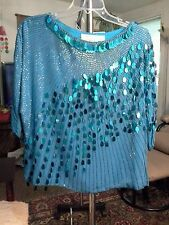 DOMINIQUE  NEW YORK/PARIS/ROME  M 100 % SILK  BEADED/SPARKLE TEAL  BLOUSE /SHIRT
