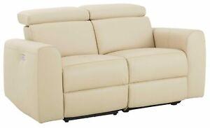 2-Sitzer mit motorischer Relaxfunktion USB-Anschluss Naturleder Couch Polstersof