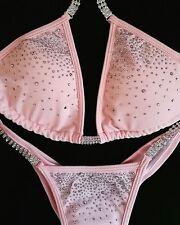 shiny pink crystal competition bikini
