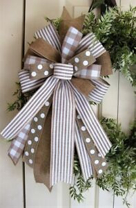 NUTRAL FARMHOUSE BOW for all SEASONS WREATH SWAG GARLAND MAIL  POST # 196 rb