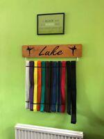 PERSONALISED GB Medal Belt hanger Display Board Karate Taekwondo (70cm Width)