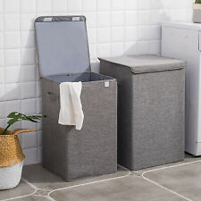 65L/100L Foldable Laundry Basket Washing Clothes Hamper Home Bin with Handle/Lid