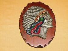 "OLD WEST WESTERN 9 1/4"" X 7""  METAL INDIAN HEAD  WOOD WALL  PLAQUE"