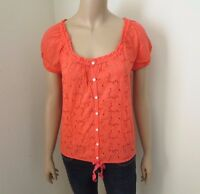 Hollister Womens Eyelet Top Shirt Size Small Blouse Coral