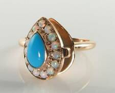 9K 9CT ROSE GOLD LOCKET PERSIAN TURQUOISE OPAL ART DECO INS POISON RING FREE Sz