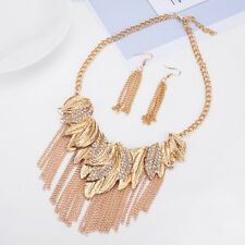 CHUNKY GOLD TONE DROP MULTI-CHAIN & LEAF DIAMANTE CRYSTAL NECKLACE EARRING SET