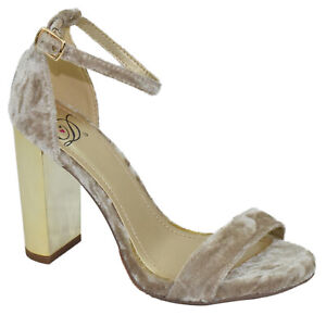 Delicious Women Thick High Heels Strap Peep Toe Beige Tan Brown Velvet SHINY-S