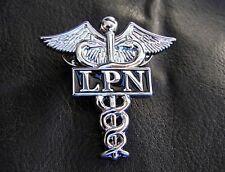 LPN LICENSED PRACTICAL NURSE PIN CHROME LAPEL Medical Hospital Caduceus Badge