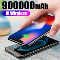 Qi Wireless Power Bank UltraThin 900000mAh External Backup Battery Fast Charger