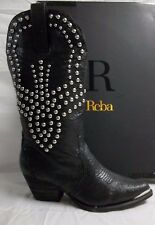 Reba Size 8 M Biker Black Leather Mid Calf Cowboy Boots New Womens Shoes NWOB