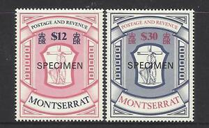 MONTSERRAT 1983 $12 AND $30 EMBLEM SPECIMEN OPT 2v MNH