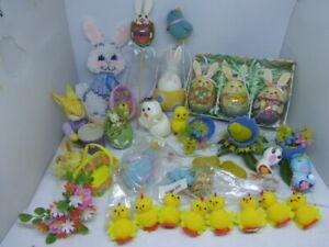 Huge Lot of Vintage Easter Decorations Crafts Picks Ornaments Bunnys chicks +
