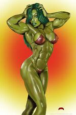 She-Hulk pose Marvel fantasy comics art muscle 11x17 signed print Dan DeMille