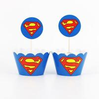 24Pcs Superman Topper Paper Cupcake For Kids Boys Birthday Decor Party Wrappers