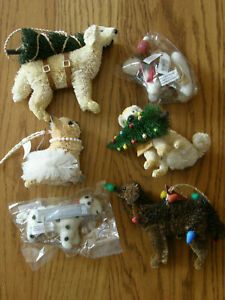 Set of 6:Pottery Barn Bottlebrush & Felt Dog Christmas Ornaments-Lab,Terrier-New