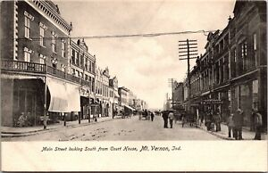 Postcard Main Street Looking South from Court House in Mt. Vernon, Indiana~1333