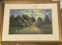 framed matted impressionist style oil pastel painting 22 x 31 Inches
