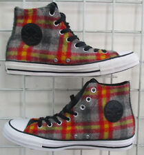 Men's Converse All Star Woolrich Shoes, New Plaid Orange Gray Walking Shoes 8.5