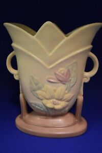 "Vintage Hull Art Pottery USA Magnolia Matte 8.75"" Yellow/Pink Vase Double Handle"