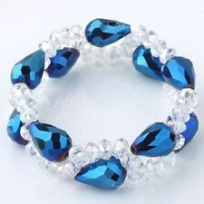 UK Shiny faceted crystal glass beads stretchy strand Bracelet rhinestone 1132