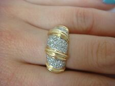 14K YELLOW GOLD 0.50 CT T.W. PAVE SET DIAMONDS DOME LADIES RING 4.8 GRAMS
