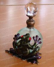 Bejeweled Dart FROG PERFUME BOTTLE (Baked Enamel, Glass Stopper, 3869)