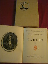 FABLES - Jean de LA FONTAINE - IMPRIMERIE NATIONALE - 2 volumes 1958 - 1959