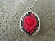 STUNNING RED ROSE ON BLACK CAMEO SILVER PLATED LOCKET - ANNIVERSARY - XMAS