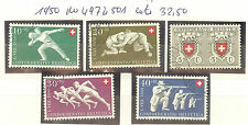 TIMBRES SUISSE FETE NATIONALE OBLITERES ANNEE 1950 N° 497 A 501 COTE 32€