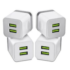 USB Chargers 4-Pack 10W 2.1 Amp Power Adapters Double Port Fast Travel Cube M...