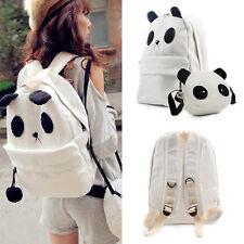 Womens Girl Canvas White Panda Shoulder School Bag BookBag Rucksack Backpack Set