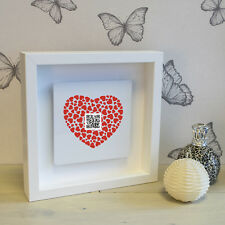 Secret Message QR Code Box Frame with 3D Metal Artwork - Personalised Gift Love