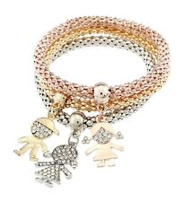 3PCS Gold Silver Cartoon Figure Crystal Cuff Bangle Charm Elastic Bracelet Gift