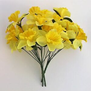 Artificial Silk Faux Flowers 3 - Bunches of Yellow Daffodils Home Grave Decor