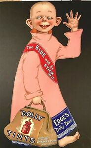 YELLOW KID in PINK! - Edge's DOLLY BLUE TINTS - ENGLISH - LARGE DIE CUT