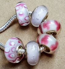 Solid Pink & White Flowers Single Core Murano Glass Beads fit European Bracelets