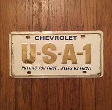U-S-A-1 CHEVROLET PUTTING YOU FIRST KEEPS US FIRST LICENSE PLATE steel usa chevy