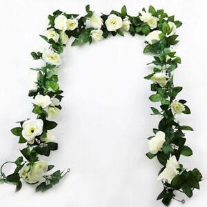16Heads Artificial Faux Silk Flower Rose Leaf Garland Vine Home Party Decor 7Ft