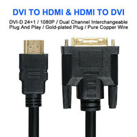 HDMI to DVI D Male 24+1 Pin Adapter Cable Gold 1080P for HDTV DVD Projector 5m